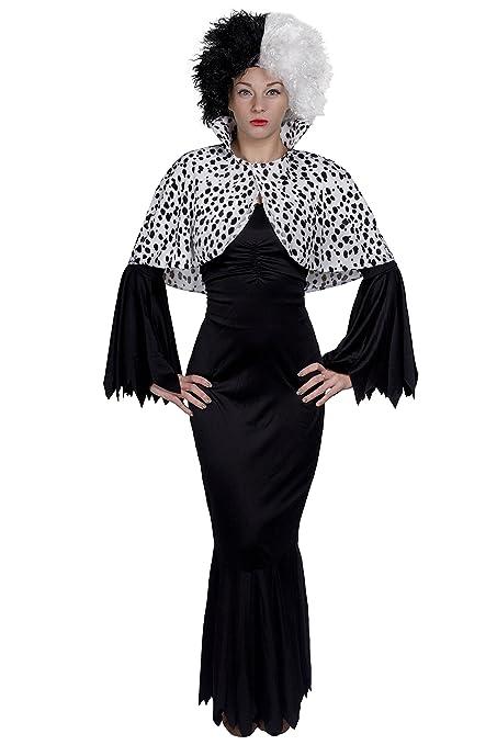 EVIL DOG LADY FANCY DRESS COSTUME - LONG BLACK DRESS +HALF BLACK HALF WHITE  WIG dda491530