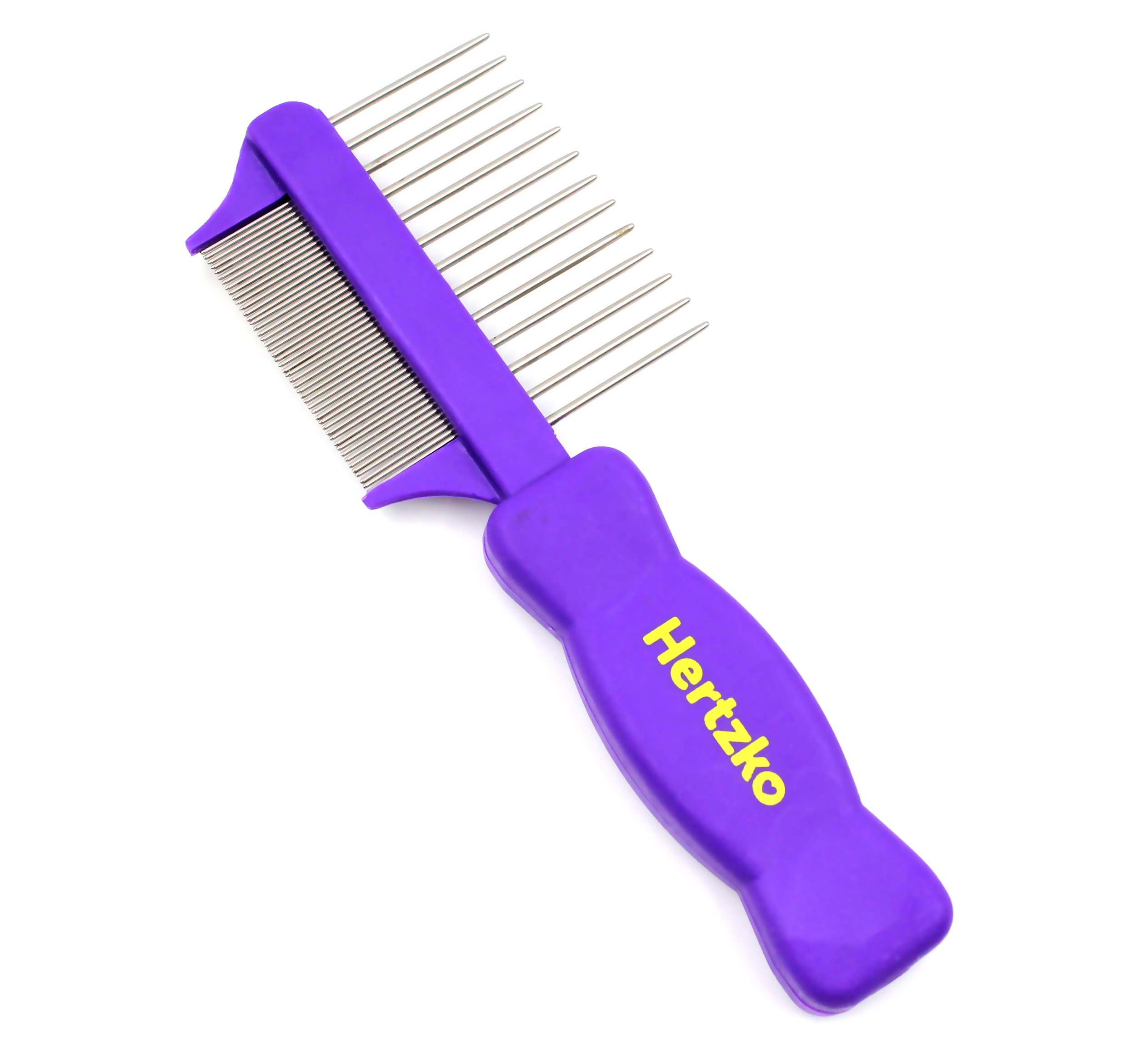 Hertzko Double Sided Flea Comb by Densely Packed Pins Removes Fleas, Flea Eggs, and Debris, and the Wider Spaced Pins Detangles and Loosens Dead Undercoat - Suitable For Dogs And Cats