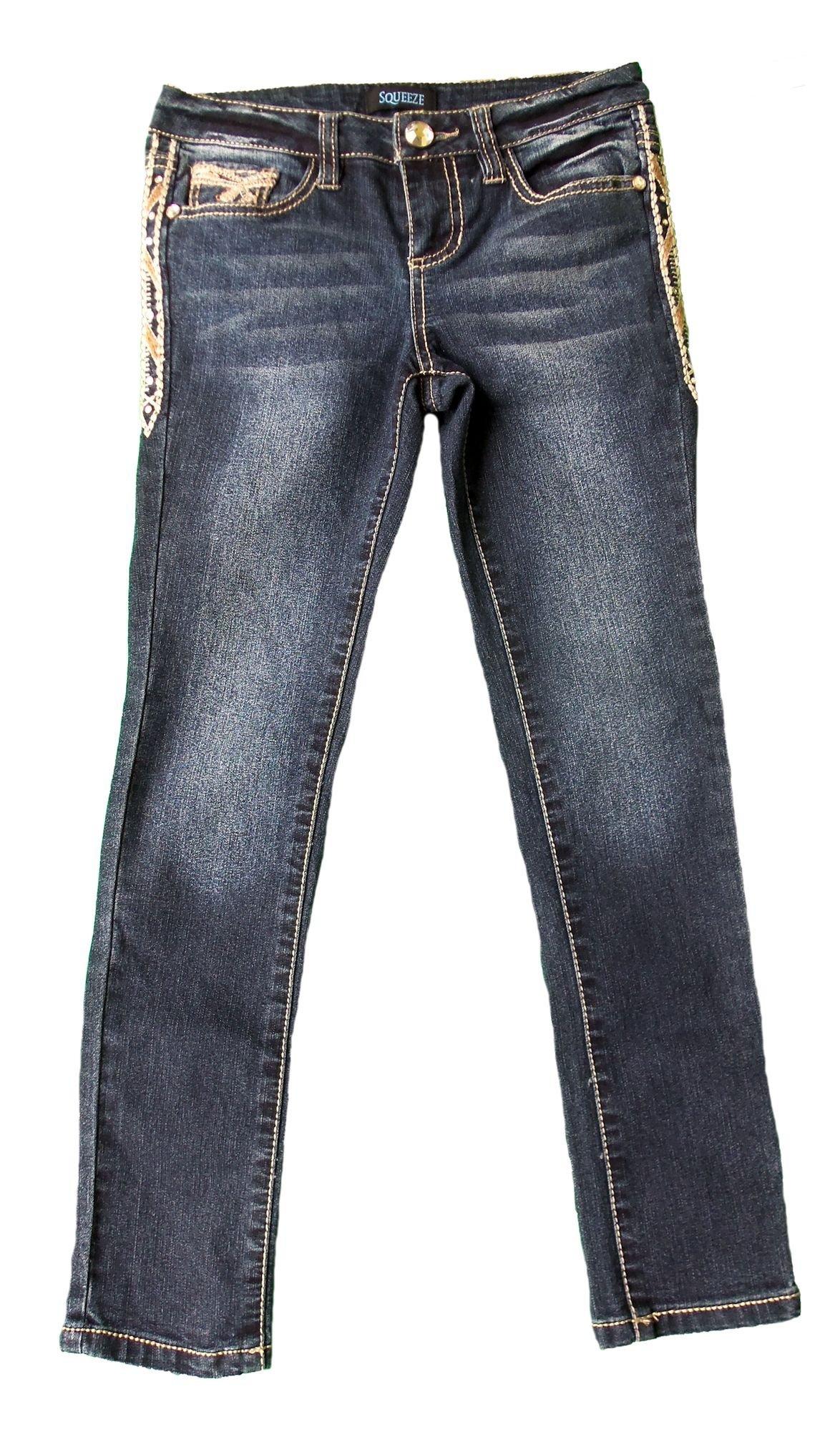 Squeeze Girls' Straight Leg Jeans, Medium Stone (10)