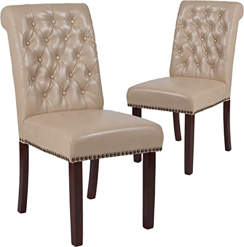 Flash Furniture 2 Pk. HERCULES Series Beige LeatherSoft Parsons Chair
