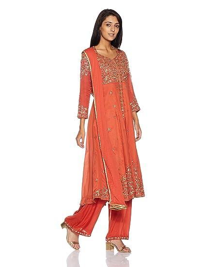 5468e3aeab6 BIBA Women s Angrakha Salwar Suit (SKD4881 ORG 34)  Amazon.in ...