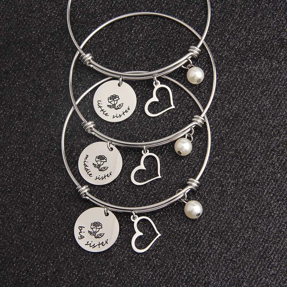 bobauna Big Sister Middle Sister Little Sister Expandable Wire Bangle Bracelet Set of 2 3 Sisters Gift Sorority Jewelry