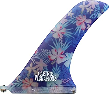 Pacific Vibrations 10.25 FINS Rudder Fiberglass Flower Pattern Longboard Surfboard FIN