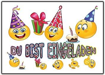 Elegant 12er Set Smiley Einladungskarten Kindergeburtsatg Lustig Witzig Party Feier  Jungen Mädchen Geburtstag Party Feier Kinder Einladung