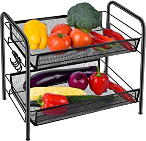 Spice Rack Organizer for Countertop, 2 Tier Fruits/Vegetables Storage Organizer, Standing Shelf with Mesh Baskets for Home, Kitchen, Bathroom, Office, Black
