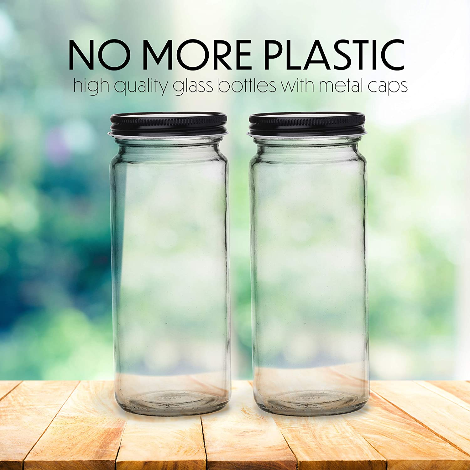 10 Juice Bottles Smoothie Cup Containers Metal Black Lids 16 OZ Glass Bottles with Caps