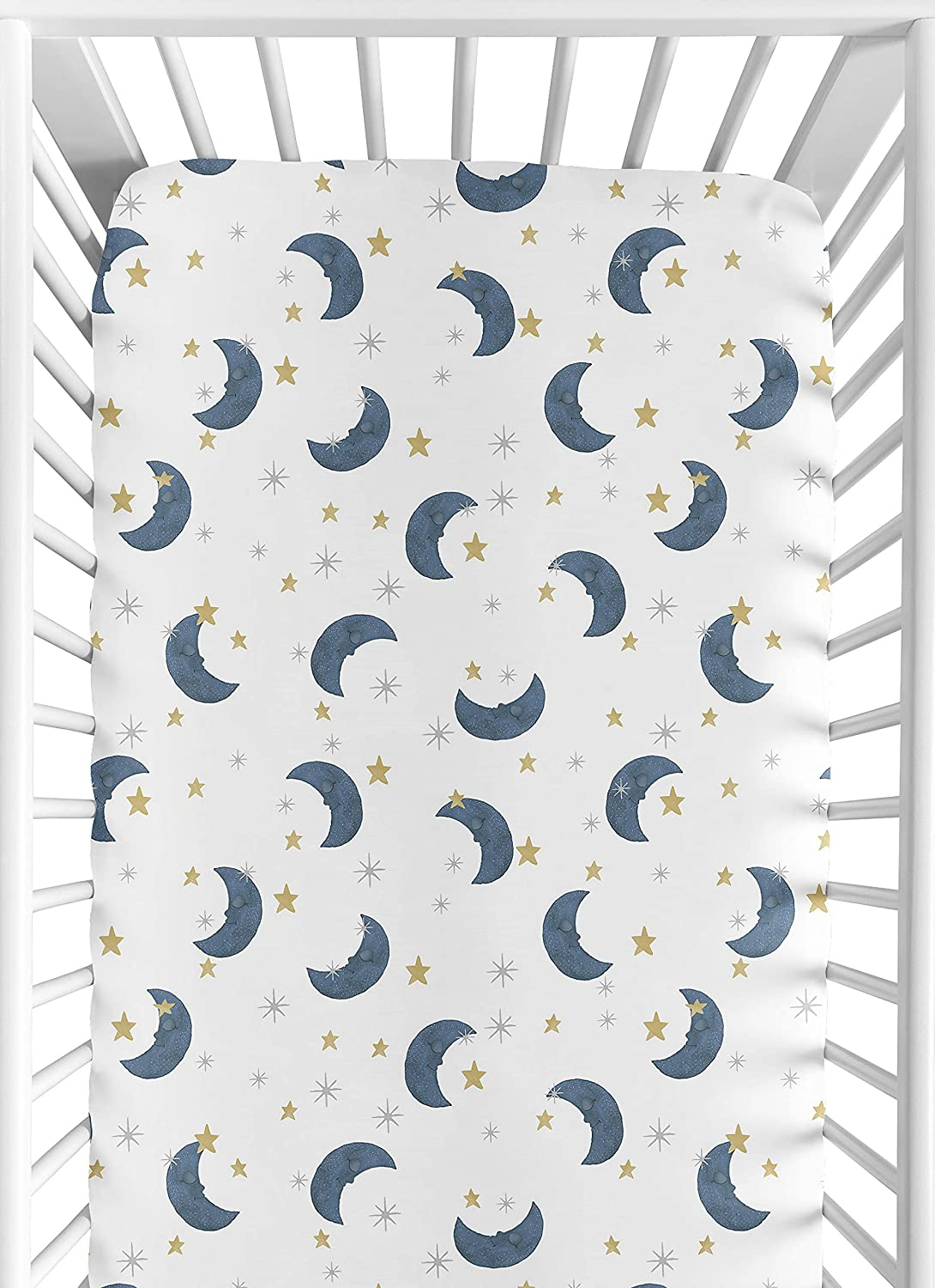 Sweet Jojo Designs Moon and Star Boy or Girl Fitted Crib Sheet Baby or Toddler Bed Nursery - Navy Blue and Gold Watercolor Celestial Sky