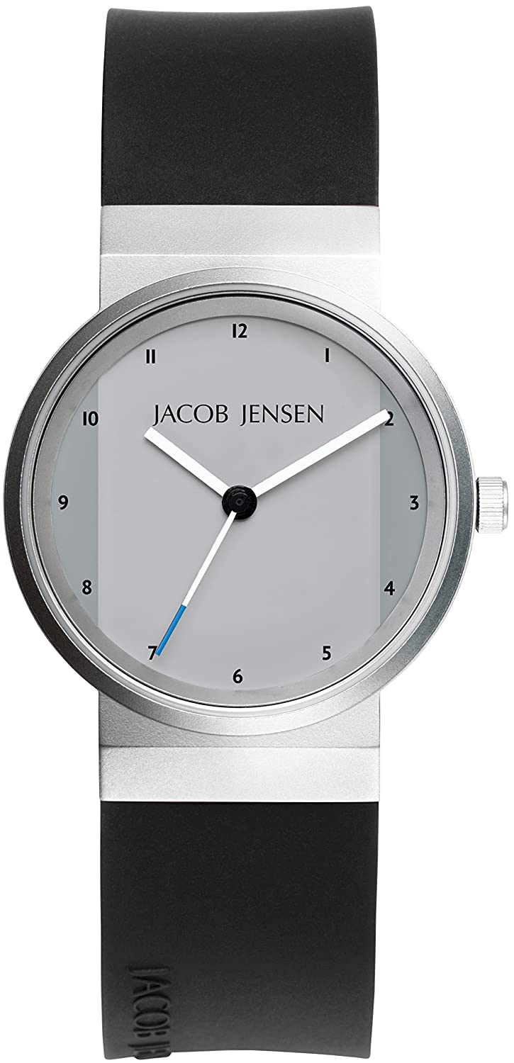0fcce7775b0f7 Amazon.com  Jacob Jensen New Series Women s Quartz Watch with Silver Dial  Analogue Display and Black Rubber Strap 741  Watches
