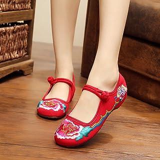 GXS Chaussures brodées fines, semelle de tendon, style ethnique, chaussures féminines, mode, confortable, chaussures de toile chaussures féminines SRFGVEDRFG