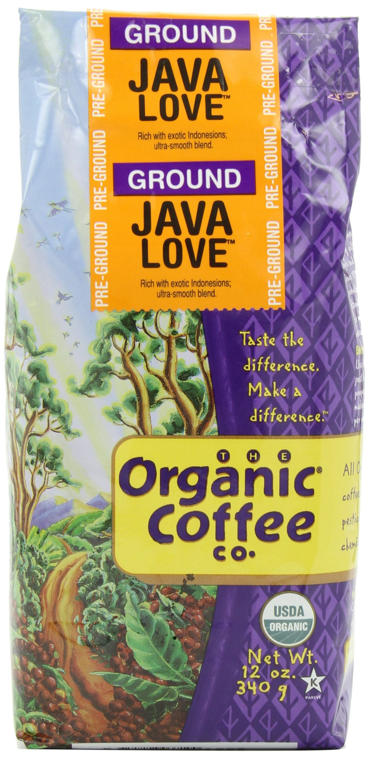 The Organic Coffee Co. Ground, Java Love, 12 Ounce