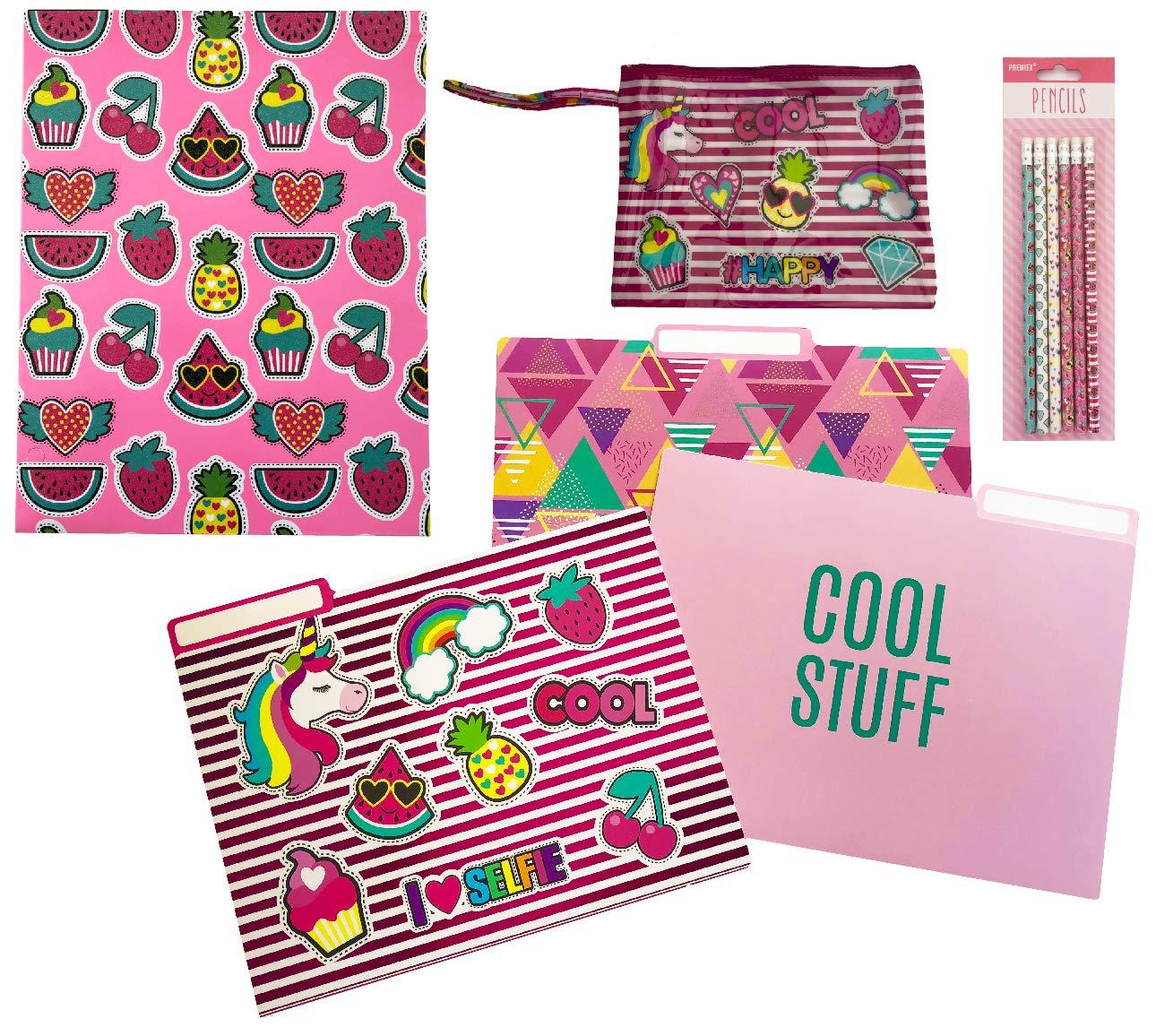 Fashion Office/Back to School Folder, File folders, Pencil Pouch & Pencils Set. Fun Fruit, Unicorn, Cupcake Patch Artwork.