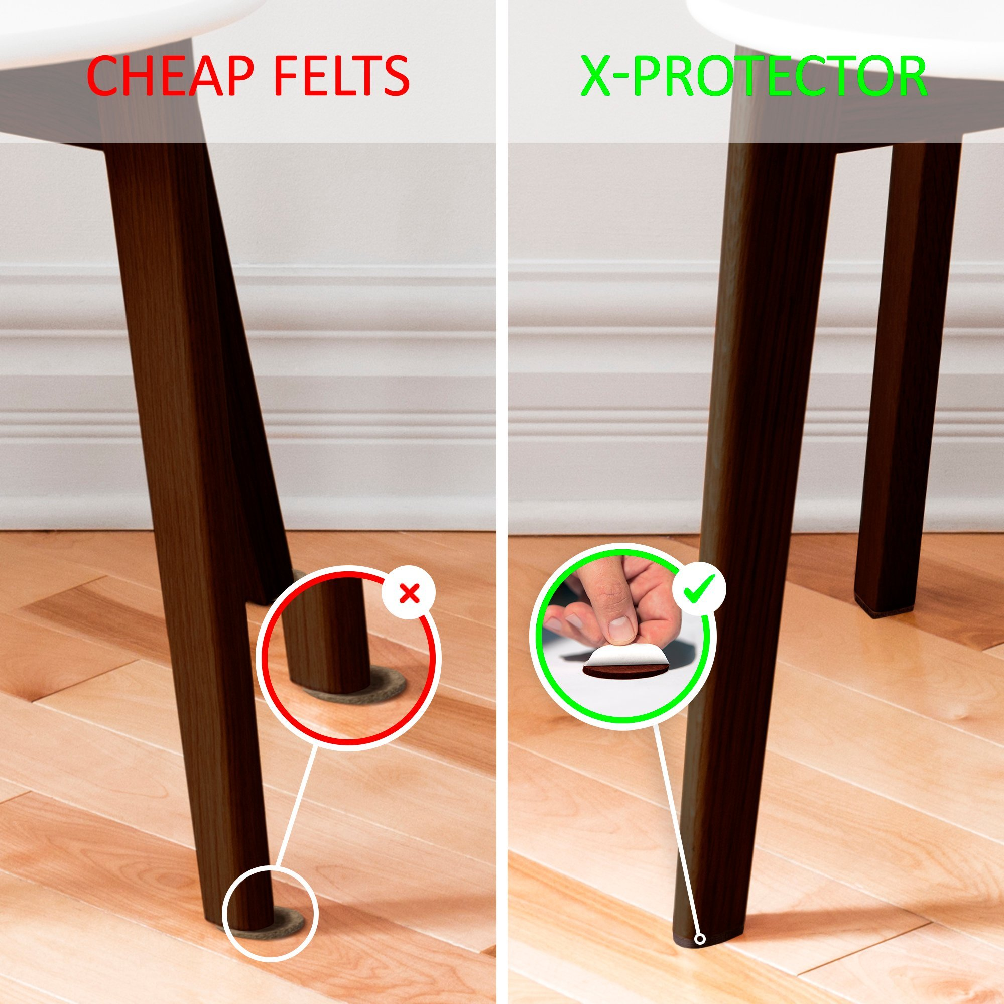 Protector Premium Two Colors Pack Furniture Pads Piece Felt Feet Brown
