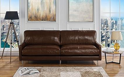 Amazon.com: Casa Andrea Milano Mid Century Modern Plush Leather ...
