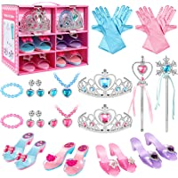 SUPER JOY Princess Dress Up Shoes & Jewelry Boutique - Pretend Princess Toys, 4 Pairs Play Shoes and Multiple Fashion…