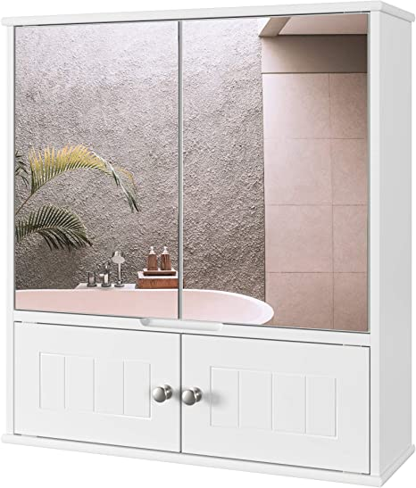 Homecho Bathroom Mirror Cabinet 21 7 L X6 9 W X23 6 H Medicine Cabinet With Doors And Adjustable Shelf Multipurpose Wall Mounted Storage Cabinet Ivory White Kitchen Dining