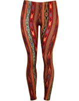 Soft and Comfortable Vertical Aztec Print Stretch Leggings - Maroon and Blue