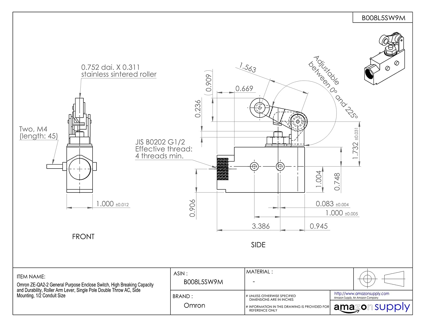 Omron Ze Qa2 2 General Purpose Enclose Switch High Breaking Single Pole Double Throw Limit Wiring Diagram Capacity And Durability Roller Arm Lever Ac Side Mounting