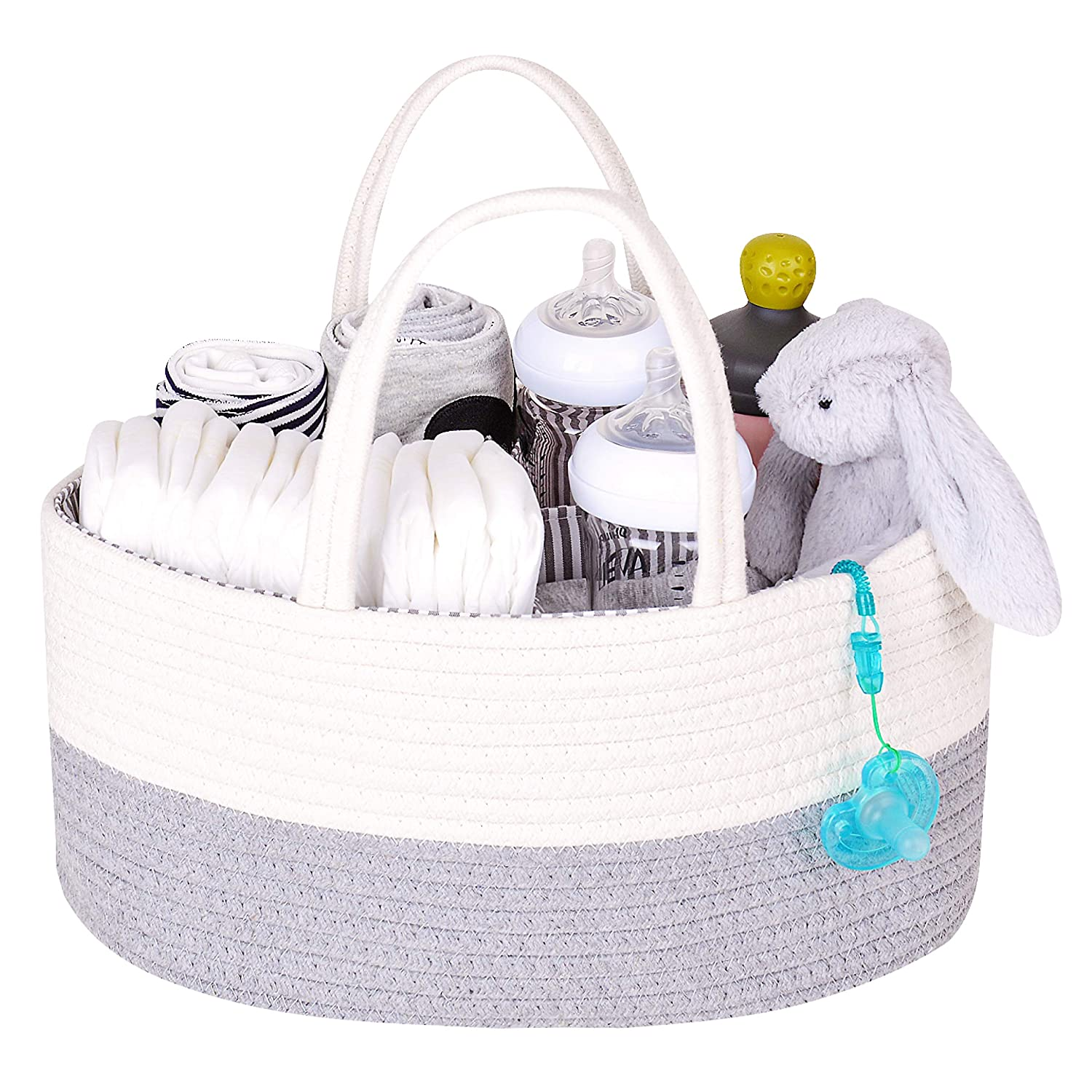 White/&Grey DOKEHOM Large Baby Diaper Caddy Organizer Cotton Rope Woven Multifunctional Nappy Storage Nursery Bin Basket with Removable Compartments