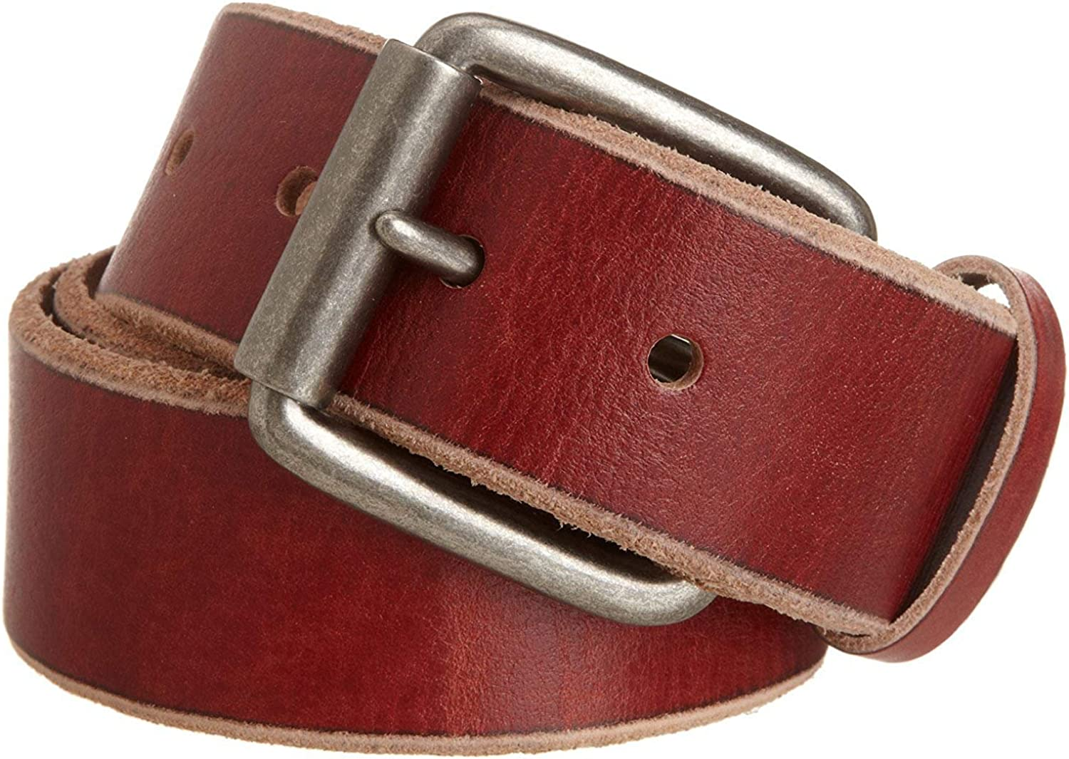 Pele Belt Men 1-1//2 Wide Genuine Leather Raw Edges Nickel Roller Buckle