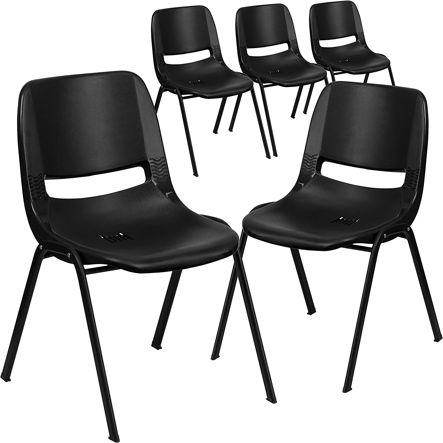 Flash Furniture 5 Pk. HERCULES Series 661 lb. Capacity Black Ergonomic Shell Stack Chair with Black Frame and 16 Seat Height