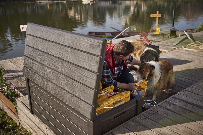 Keter Brightwood 120 Gallon Outdoor Resin Garden Patio Storage Furniture Deck Box