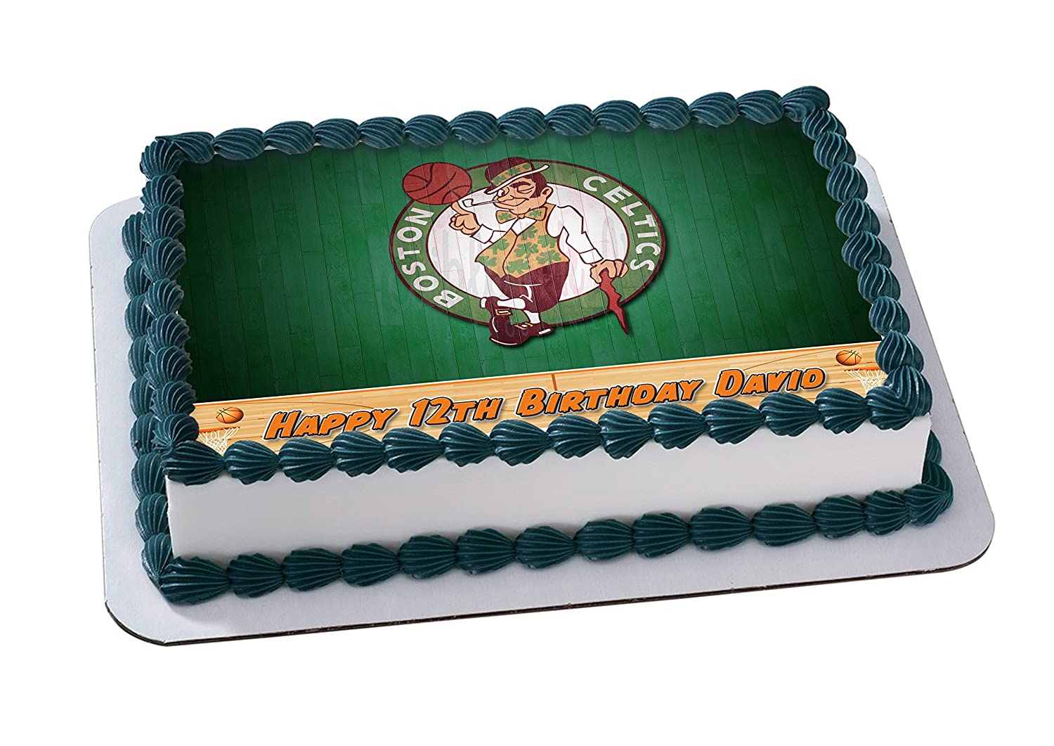 Boston Celtics Basketball Edible Image Cake Topper Personalized Jpg 1500x1061 Kyrie Irving Birthday