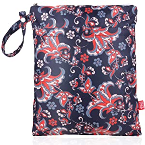 Waterproof Wet Dry Bag Double Layer Reusable Cloth Diaper Wet Bag with Waterproof Liner and Zippered Pocket for Diapers, Laundry, Swimsuits and Dirty Cloth, Paisley