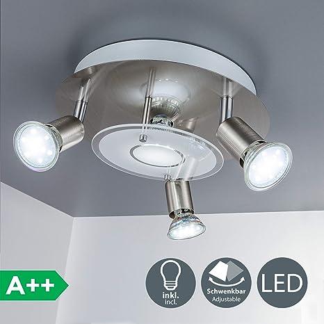 Plafón de techo con focos LED giratorios GU10 I Lámpara de techo LED incl. 4x3 W bombillas LED I luz blanco cálido 3000K I 230V IP20 I Metal y cristal