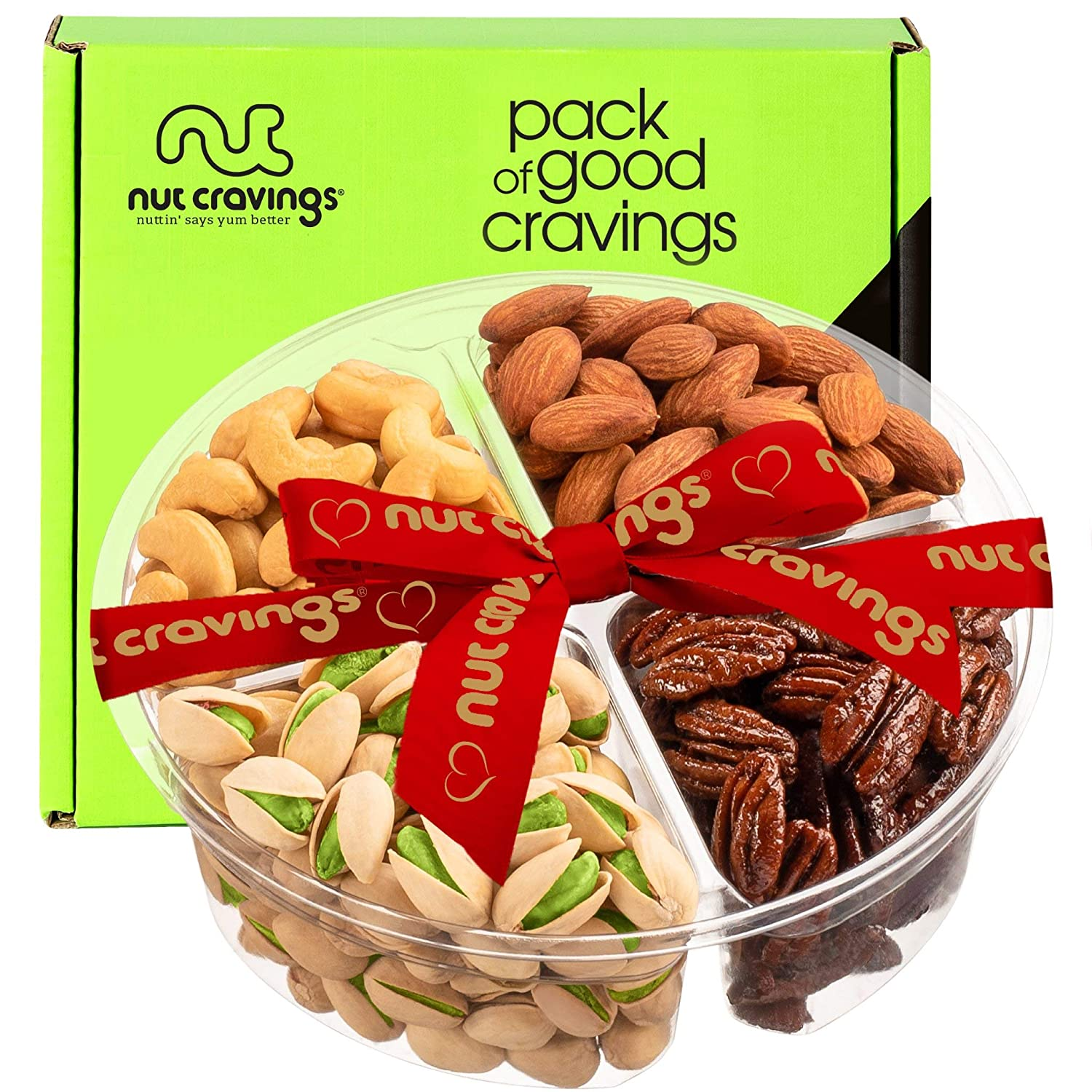 Gourmet Nut Gift Basket, Red Ribbon (4 Mix Tray) - Easter Food Arrangement Platter, Care Package Variety, Prime Birthday Assortment, Healthy Kosher Snack Box for Families, Women, Men, Adults