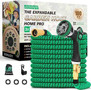 BINROVA Expandable Garden Hose 100ft-Water Hose with 10 Function Spray Nozzle-Durable 4-Layers Latex and 3/4