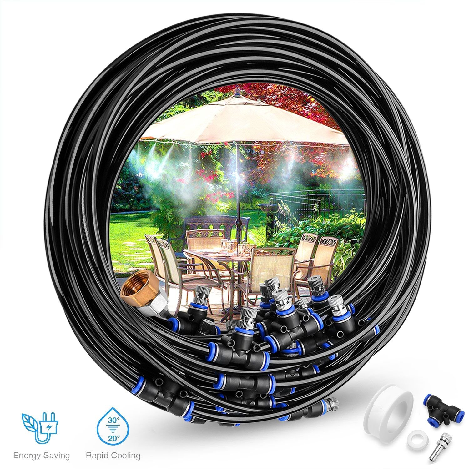 Gesentur Irrigation System, Misting Cooling System Kit- 26.2ft(8M) Misting Line + 9 Metal Mist Nozzles + a Brass Adapter(3/4) for Outdoor Patio Garden Watering Reptile Mosquito Prevent