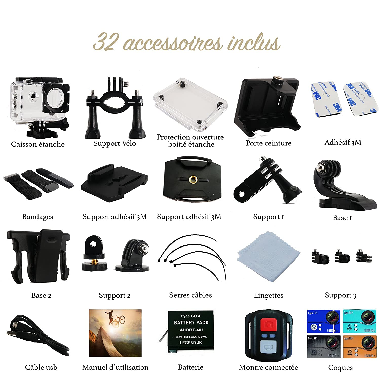 Cámara Deportiva 4K) EYES GO 4+® + Kit 32 accesorios 20 MP Marca ...