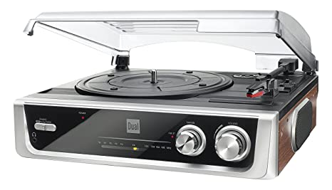 new product 7c55f f8c76 Dual MTR10 Twin Speed Turntable with Built In Speakers and FM Radio - Black Silver   Amazon.co.uk  Audio   HiFi