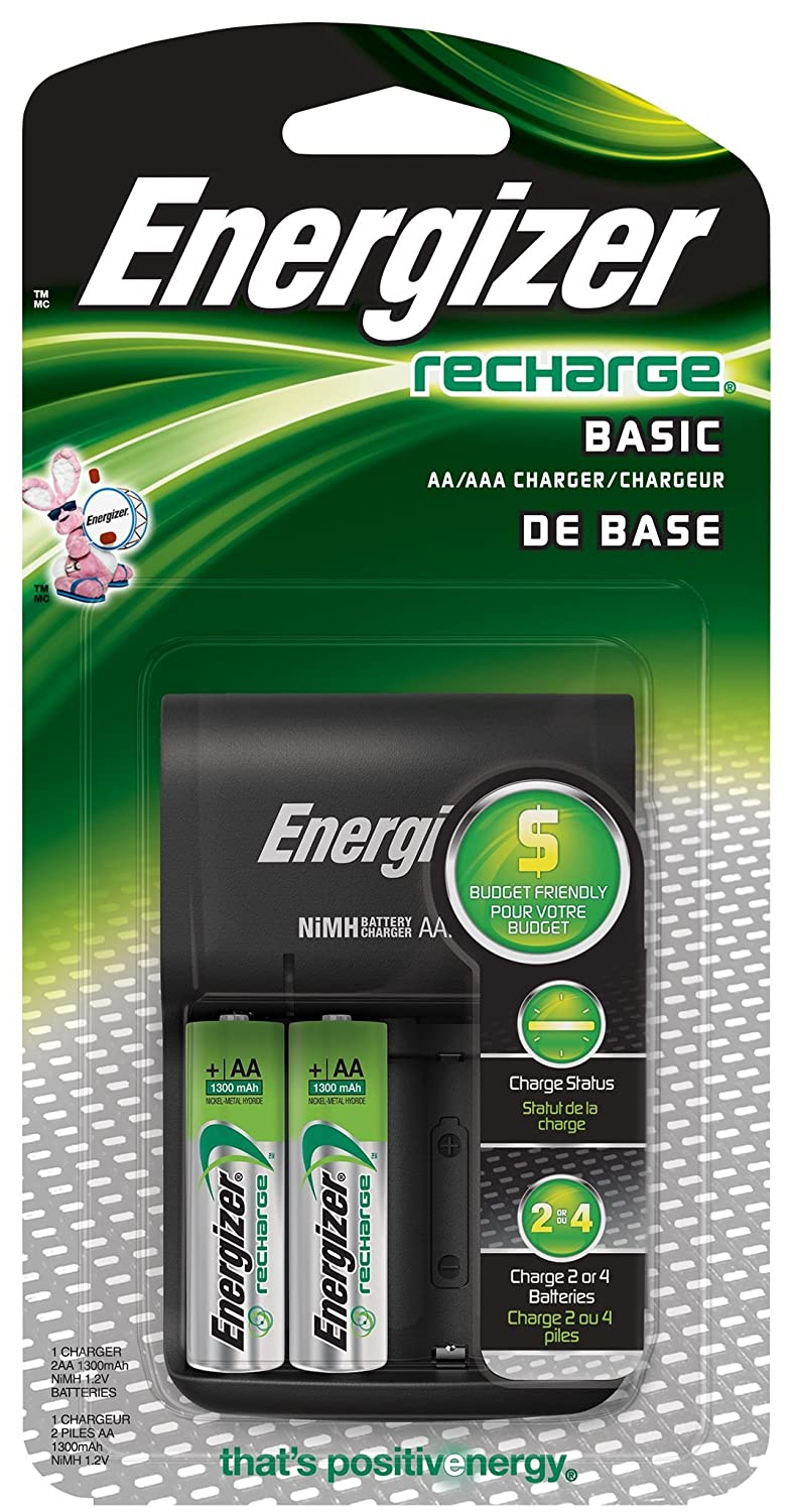 Energizer Basic Charger, Includes 2 AA Batteries 1-Count Energizer Canada CHVCWB2