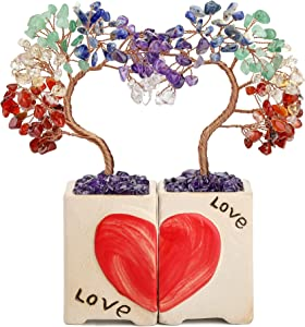 CrystalTears 7 Chakra Crystal Stone Tree Heart Healing Crystal Gemstone Money Tree Love Wedding Figurine Statue Gift for Couple Home Decoration