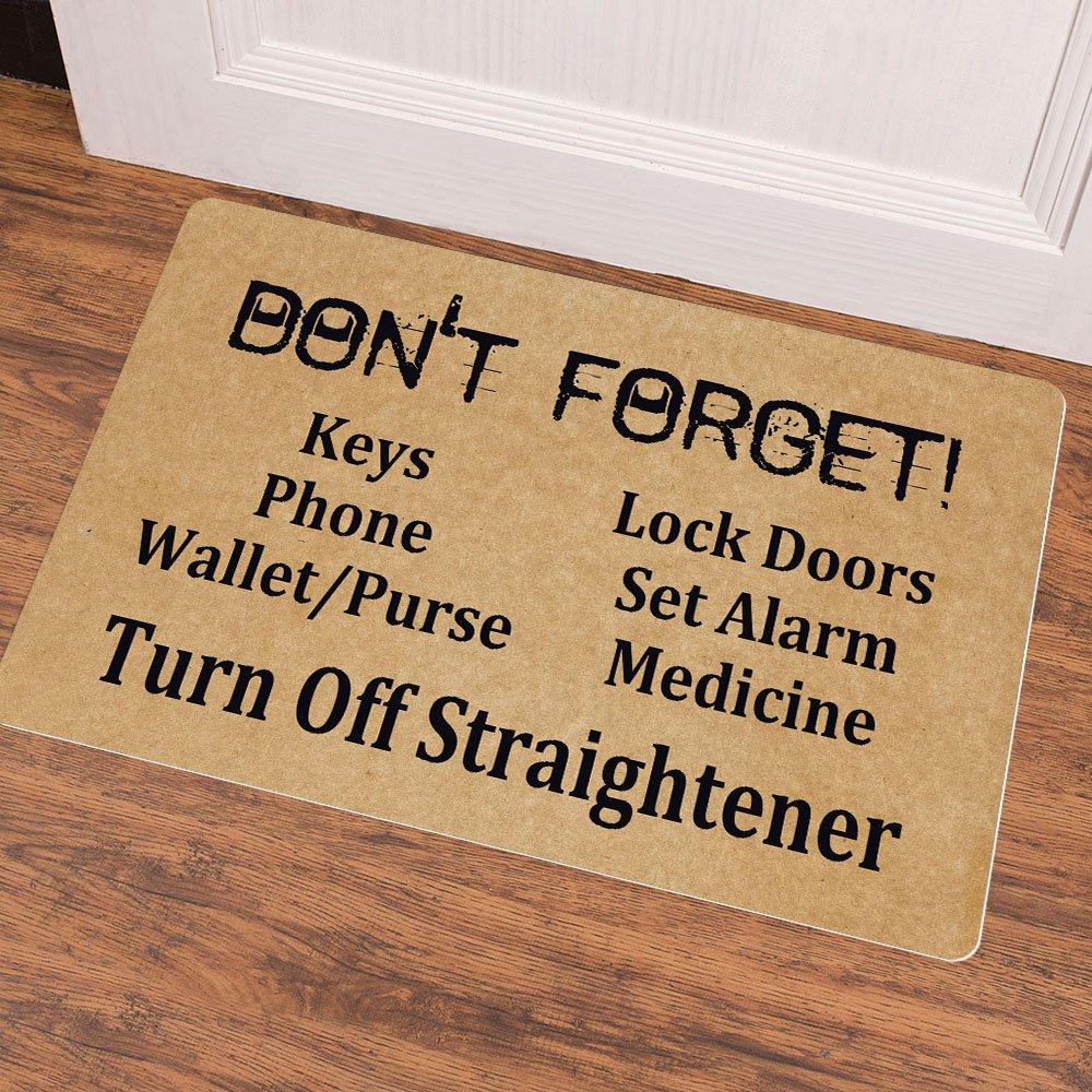 Ruiyida Mats Dont Forget Keys Phone Wallet Purse Doormat Entrance Floor Mat Funny Doormat Door Mat Decorative Indoor Outdoor Doormat Non-Woven 23.6 by 15.7 Inch Machine Washable Fabric Top