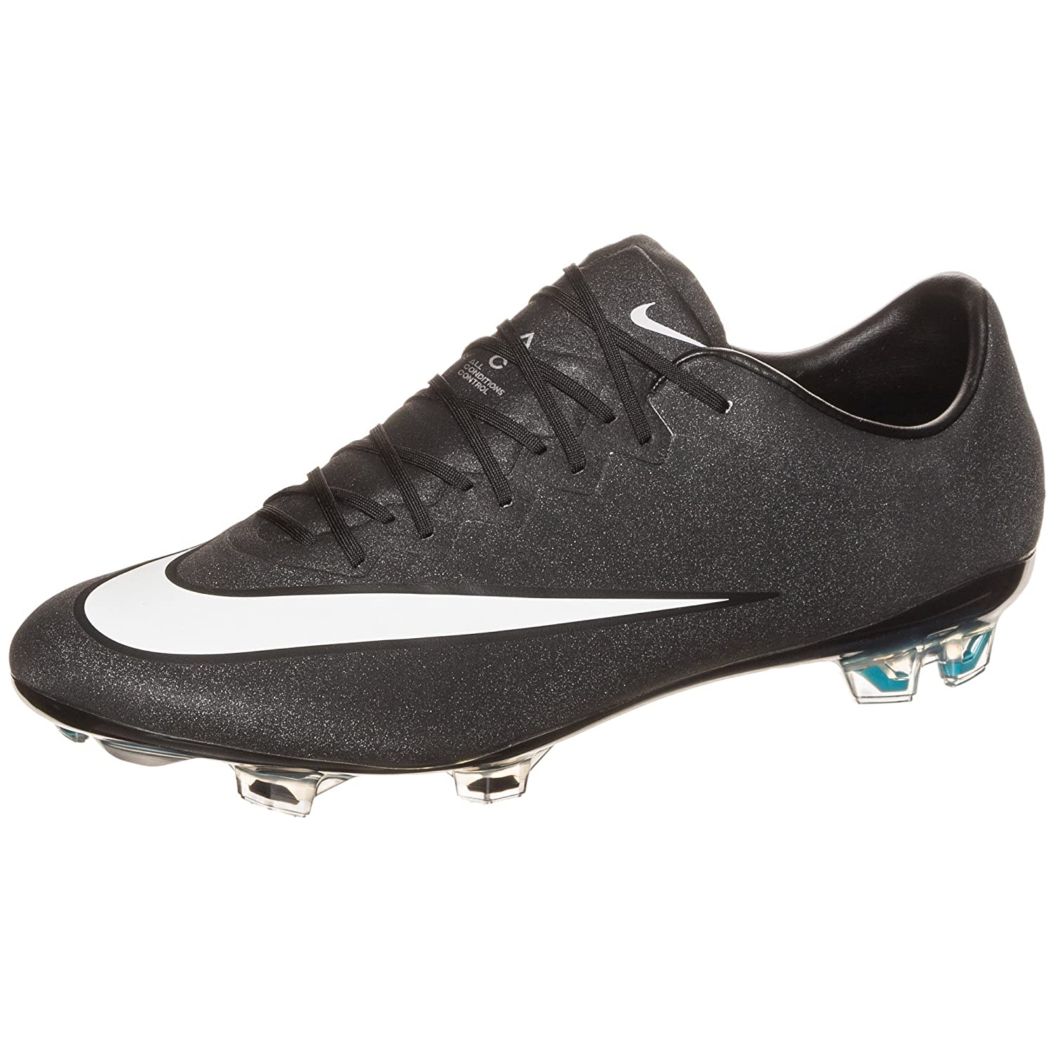 Nike Men\u0027s Mercurial CR7 Vapor X FG Soccer Cleats - (Black/Turquoise) (