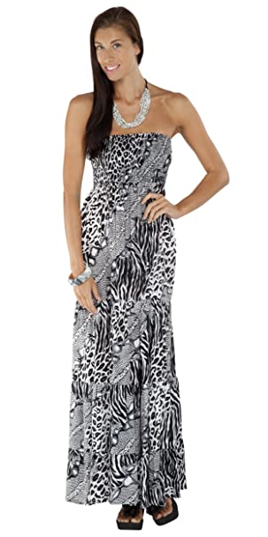 1WorldSarong - Vestido - sujetador bandeau - Animal Print - Sin mangas - para mujer Negro