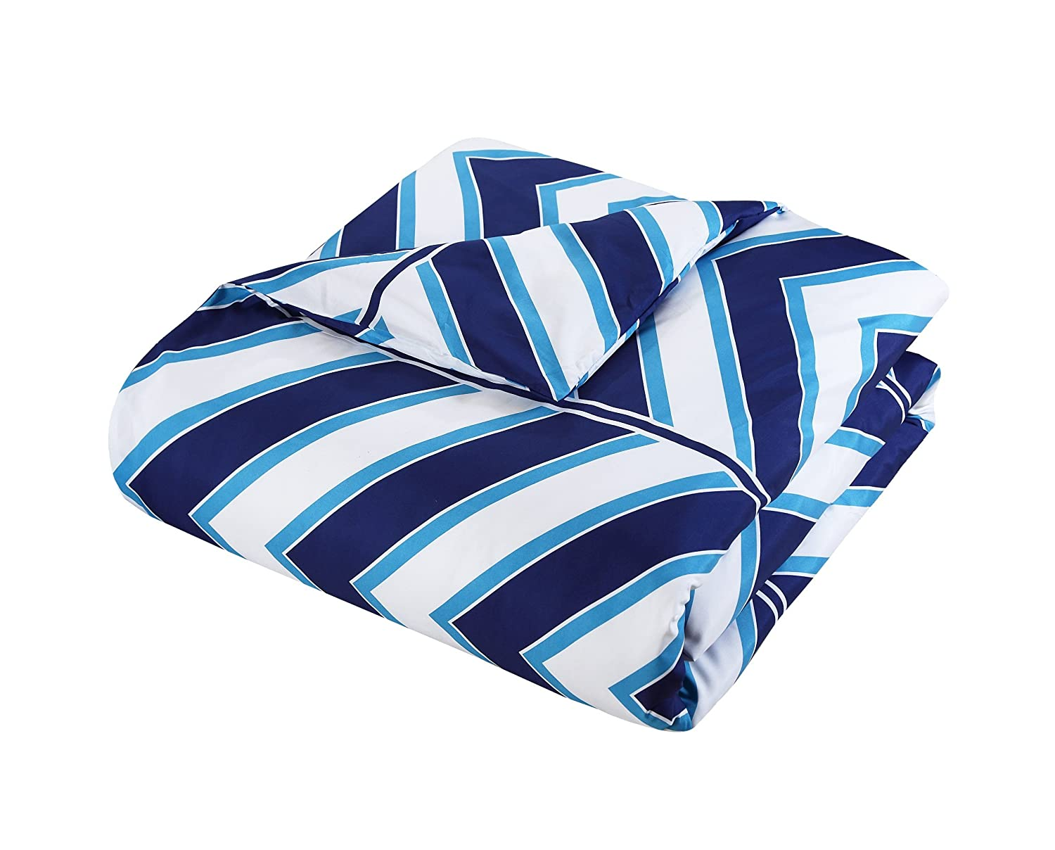 Chic Home CS1624 10 Piece Surfer Chevron and Geometric Printed Reversible Queen Bed in a Bag Comforter Navy Sheets Set and Deocrative Pillows Included CS1624-AN