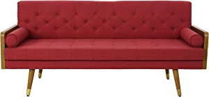 Christopher Knight Home 305142 Aidan Mid Century Modern Tufted Fabric Sofa, Red