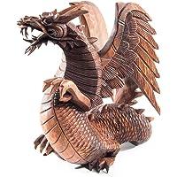 Windalf - Statua in Legno a Forma di Drago, Altezza 30 cm, con Ali