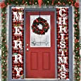 """Merry Christmas Hanging Banner Porch Sign & Christmas Stree Snow Pattern Backdrop for New Year Home Yard Indoor Outdoor Wall Door Party Decorations 72""""x12"""""""