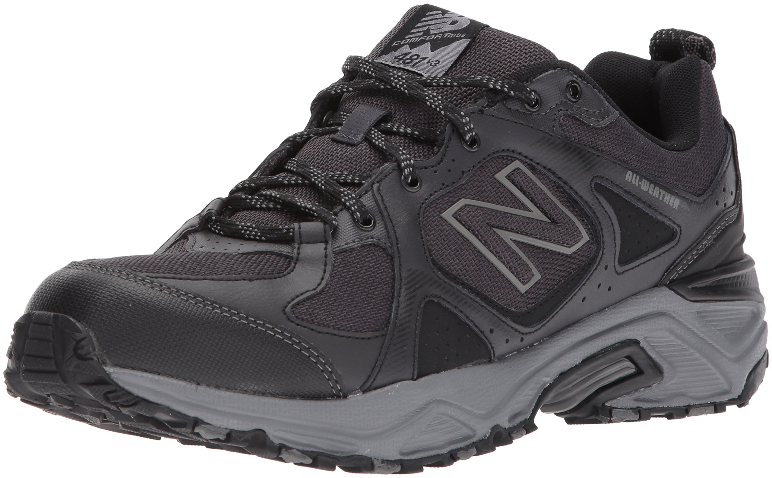 New Balance Men's 481V3 Water Resistant Cushioning Trail Running Shoe, Black/Grey, 15 4E US by New Balance