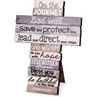 God Will Direct On the Journey Distressed Wood 9 Inch Stacked Wood Cross Figurine