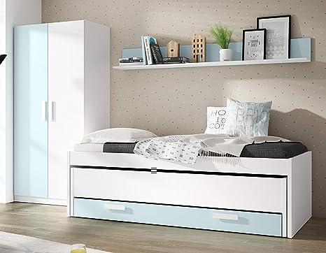 Pack de Muebles Dormitorio Juvenil Color Blanco y Azul (Cama Nido + Estante + Armario