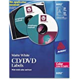 Avery 6692 CD/DVD Labels for Color Lasers, 30 Disc Labels & 60 Spine Labels,White