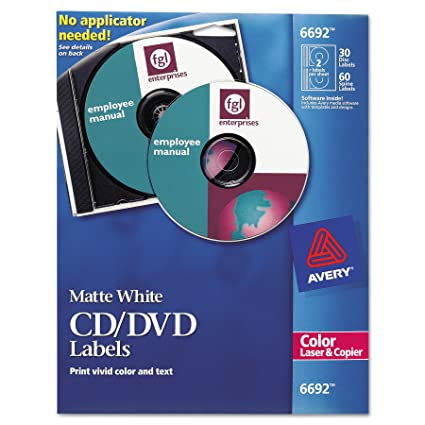 amazon com avery 6692 cd dvd labels for color lasers 30 disc