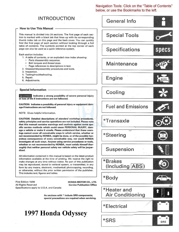Amazon.com: bishko automotive literature 1997 Honda Odyssey Shop Service  Repair Manual Book Engine Drivetrain Wiring OEM: Automotive