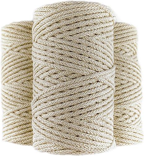 Cuerda macrame trenzada de algodón 100%, 100m, 4mm, color beige. Rollo de Hilo de crochet grueso. Cordón para costura, manualidades, tejer y ganchillo.: Amazon.es: Hogar