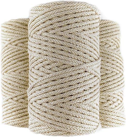 Cuerda macrame trenzada de algodón 100%, 100m, 4mm, color beige ...